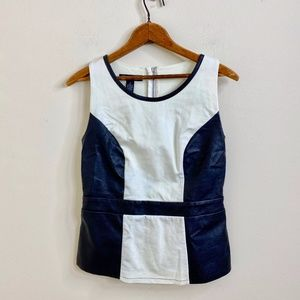 INC Faux Black Leather & White Structured Blouse